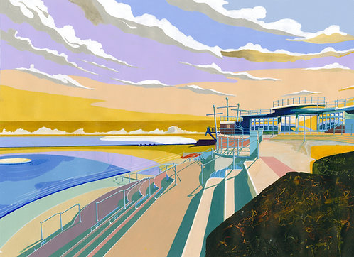 'Havre Des Pas Lido' Original painting. Acrylic on paper 75x 55cm.