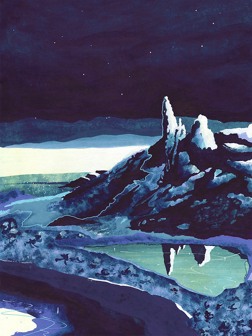 'The Storr, Isle of Skye' Original painting. Acrylic on paper 30 x 40