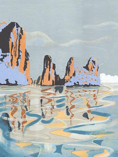 'Ha Long Bay, Vietnam' Original painting. Acrylic on paper 30 x 40cm.