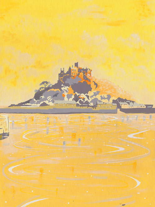 'St. Michael's Mount, Cornwall' Original painting. Acrylic on paper. 30x40 cm.