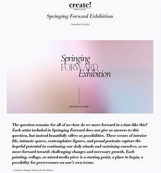 A flyer for Create Magazine's online exhibtion 'Spring Forward', of which I am taking part.