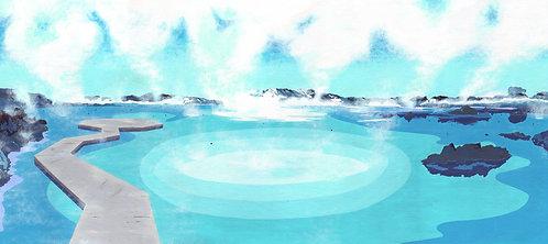 'The Blue Lagoon' Limited Edition Giclee Print 90cm x 40cm
