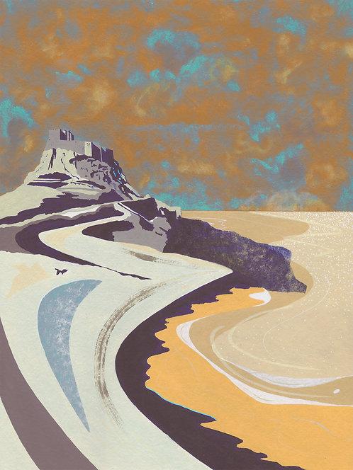'Lindisfarne Castle' Original painting. Acrylic on paper 30 x 40cm.
