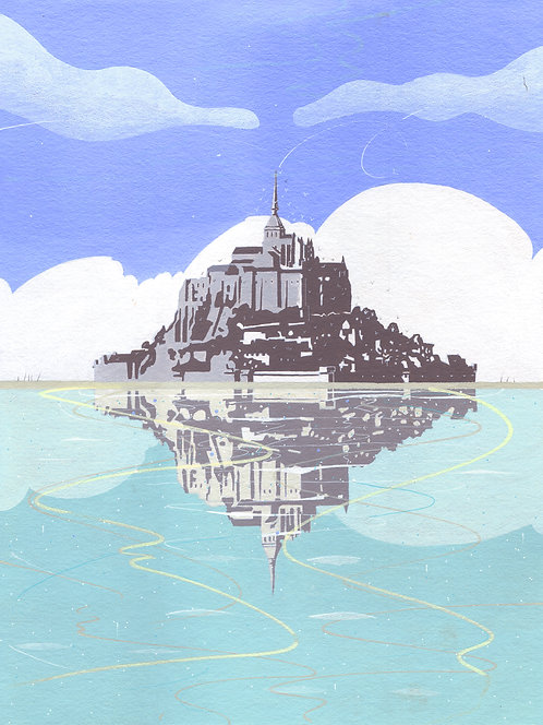 'Mont St Michel, Normandy' Original painting. Acrylic on paper 30 x 40cm.