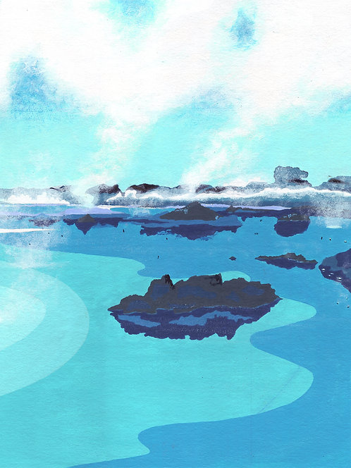 'Blue Lagoon III, Iceland' Original painting. Acrylic on paper 30 x 40cm.