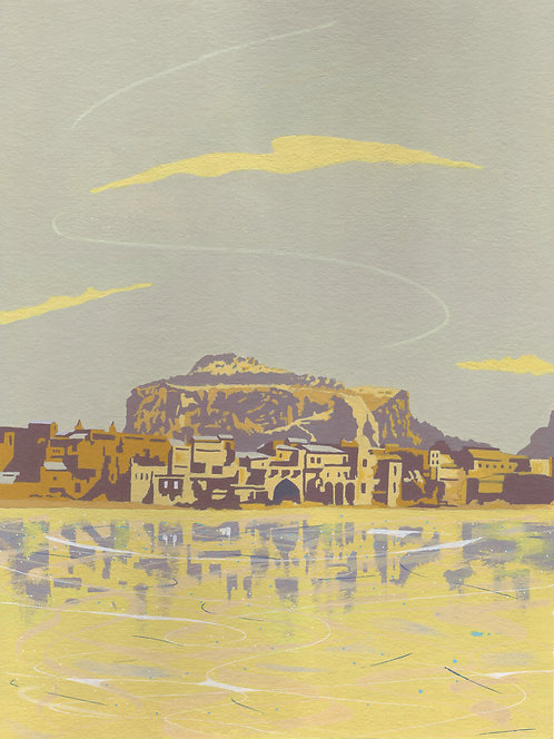 'Cefalu, Sicily' Original painting. Acrylic on paper. 30 x 40 cm.
