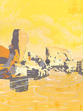 A painting of Lizard Point in the UK and it's famous rock formations that appear out of the sea.