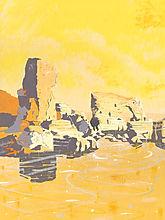 Lizard Point Cornwall. Sun setting near rock formation.