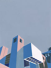 A painting of a brutalist element of the Barbican Centre in London.
