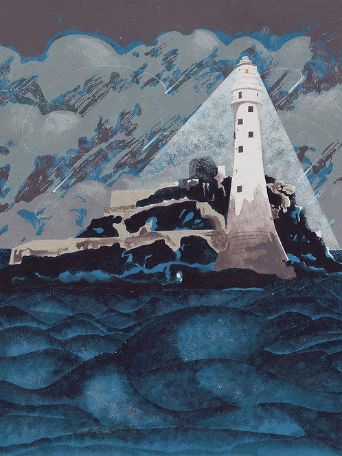 'Fastnet Rock' Original painting. Acrylic on paper 30 x 40cm.