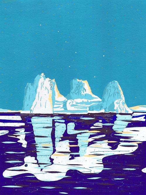'Greenland Ice sheet II' Original painting. Acrylic on paper 30 x 40cm.