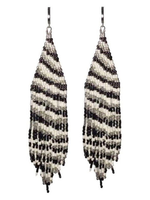 Zebra Seed Bead Earrings
