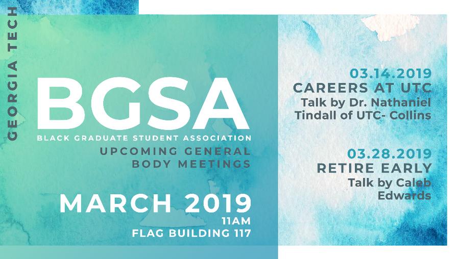 Flyer for Black Graduate Student Association
