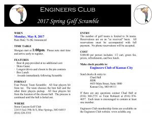 Engineer's Club of Kansas City – hosts Annual Golf Tourney – May 8, 2017 – S