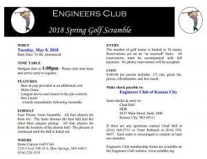 Engineer's Club of Kansas City – 2018 Spring Golf Scramble – Help Fund Scholarship