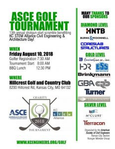 Kansas City ASCE Annual Golf Tournament coming up! Sign up to play and benefit KC STEM Alliance!