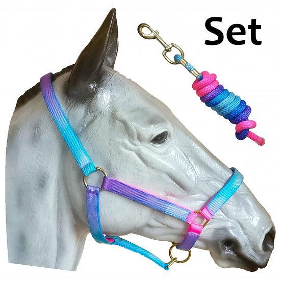 Aqua Headcollar & Rope Set (Unicorn)