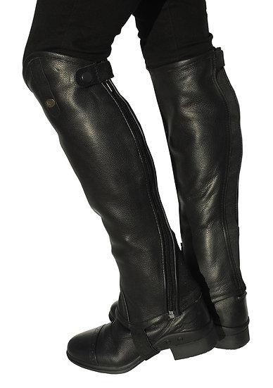 Rhinegold 'Elite' Curved Zip Leather Gaiters