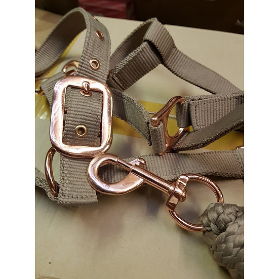 Sheldon Rose Gold Headcollar & Lead Rope Set