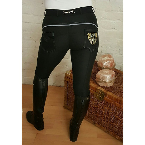 Sheldon Micro Elite Black Jodhpurs (with bling eggbutt)