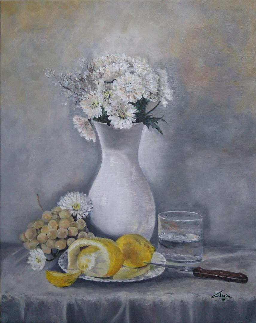 Marguerites and lemons (Oil paint, 2016)