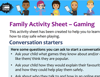 Family Activity Sheet - Gaming