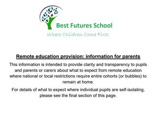 Remote Education Information for Parents
