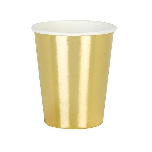 Златни парти чашки - 8 бр.