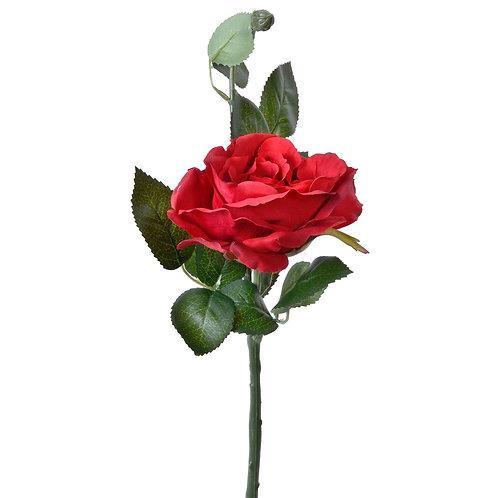 Изкуствена червена роза - 38 см