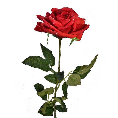 Изкуствена червена роза - 75 см