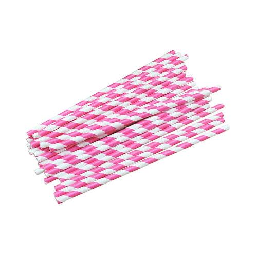 Розови хартиени сламки - 25 бр.