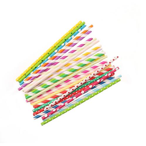 Цветни хартиени сламки - 25 бр.