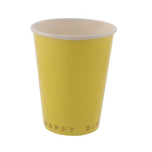 Жълти парти чашки - 8 бр.