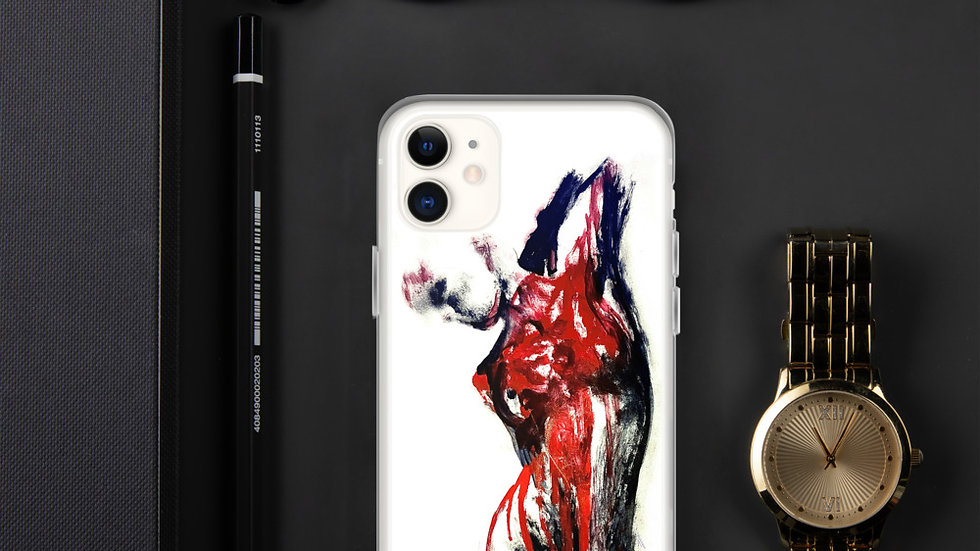 Stroke Piece #1 Art (white & red) iPhone Case