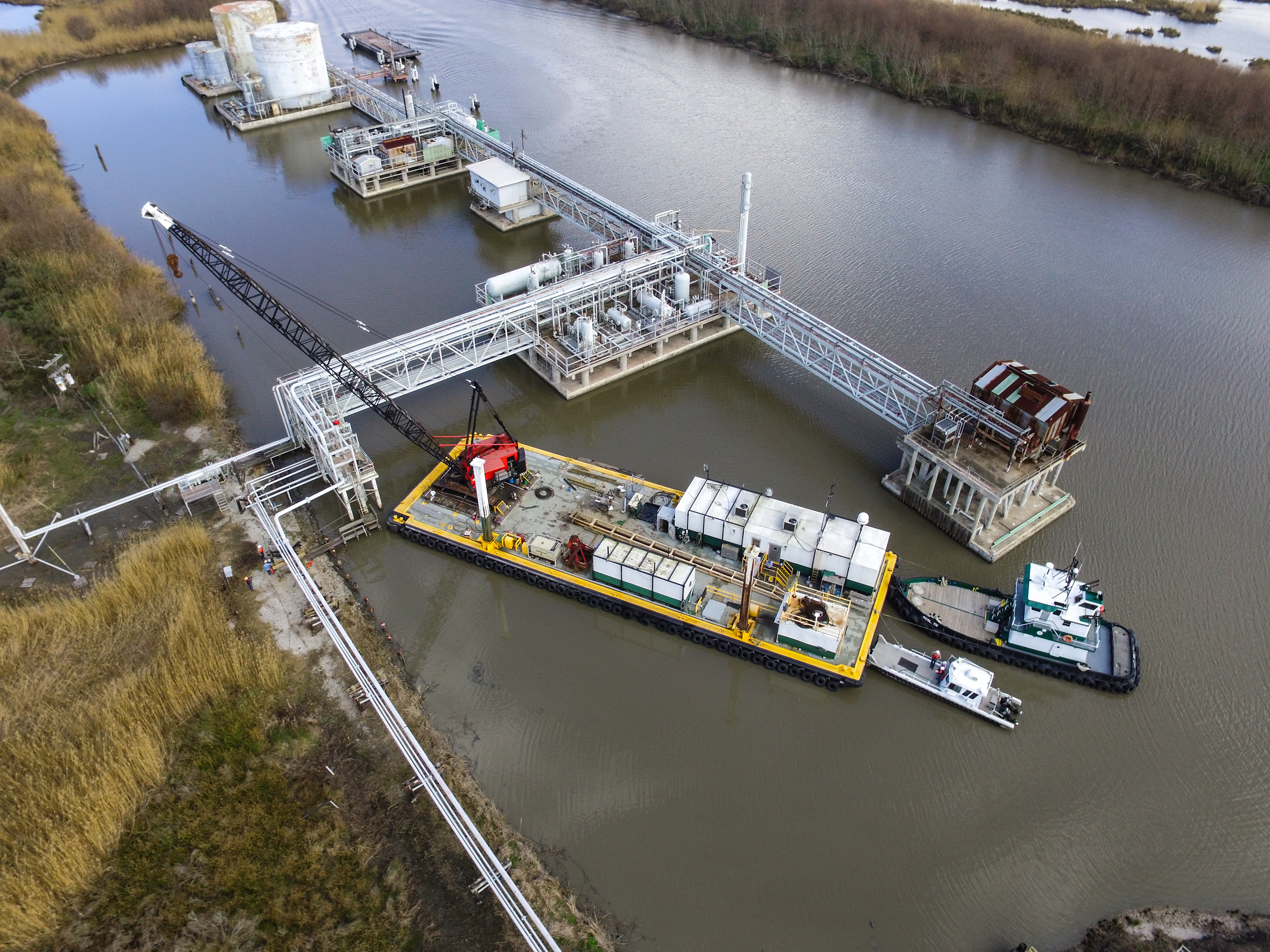 Broussard Brothers - Pipeline, crane barges, tug boats, dock