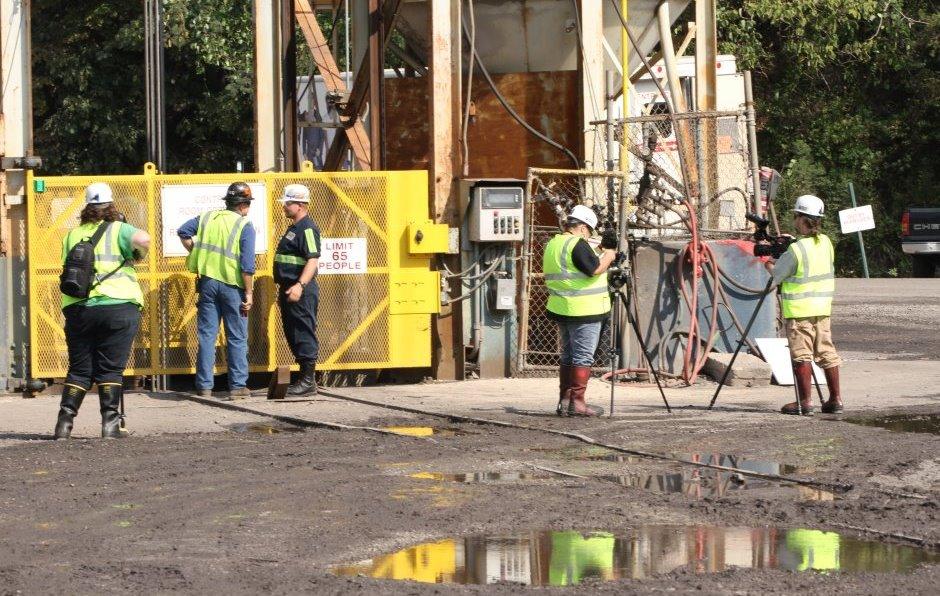 Filming at Walter Mine