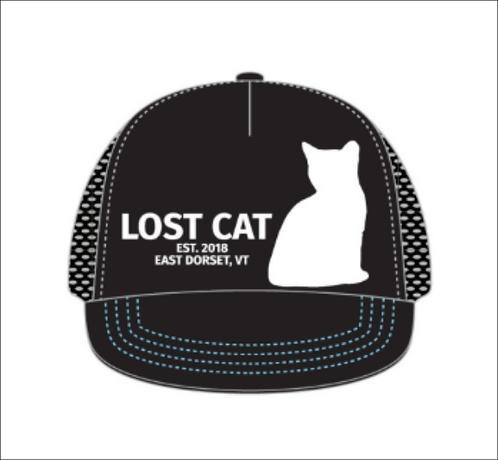 Lost Cat Contrast Stitching Flat Brim Trucker