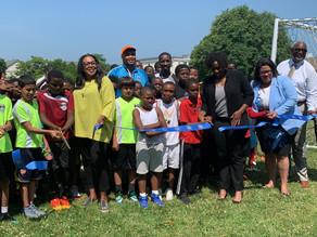 Mayor Warren Cuts Ribbon on New Soccer Field