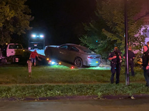 Vehicle crashes porch after suspects inside car involved in shots fired