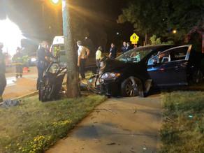  Car crashes into tree on Joseph Avenue