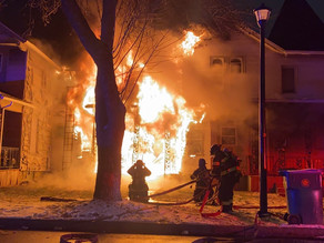 3rd alarm house fire with multiple fireman injured on Fulton Avenue