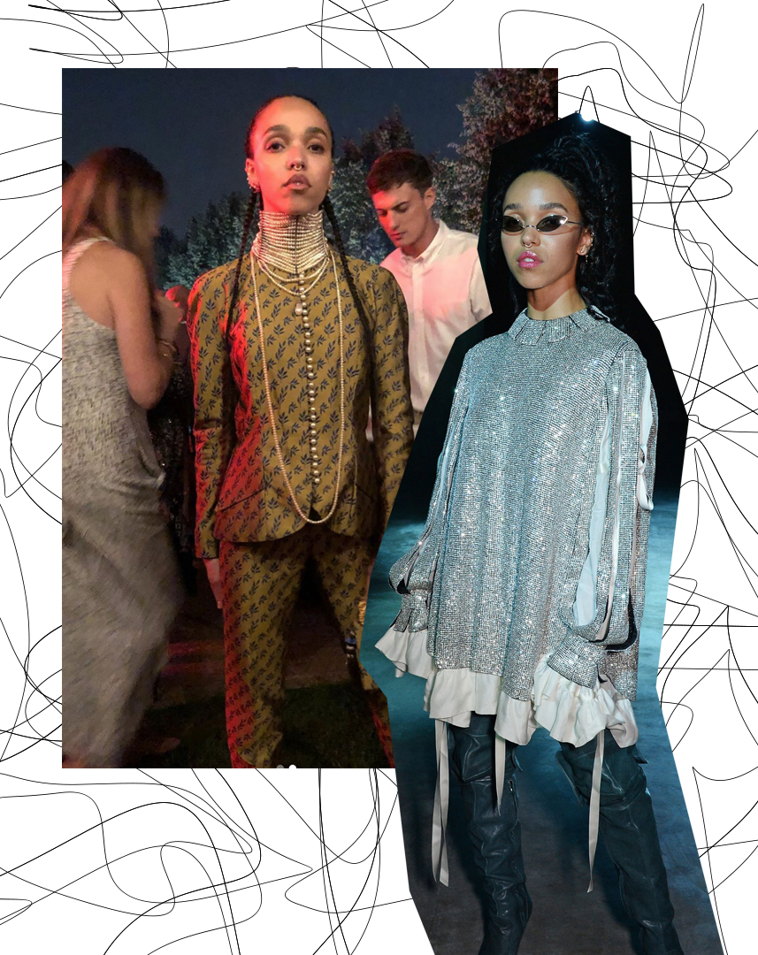 Left, FKA Twigs wearing vintage Dior. Right, FKA Twigs wearing Christopher Kane.