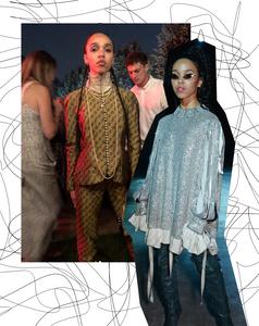 Left, FKA Twigs wearing vintage Dior. Right, FKA Twigs wearing Christopher Kane.