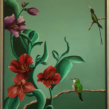 Wimpelstaart kolibries h.74cm x w.64cm.