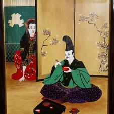 Geisha behind screen  h85cm x w65cm