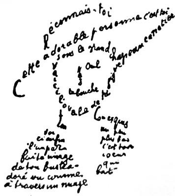 Guillaume Apollinaire, calligramme, extrait, Poèmes à Lou