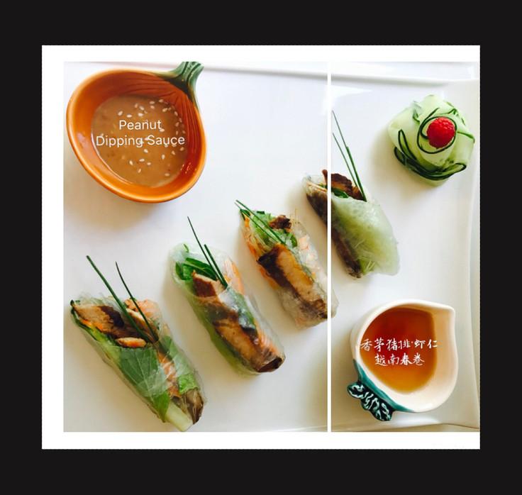Vietnamese Summer Roll with Shrimp & Grilled Lemongrass Pork Chop