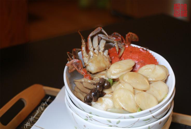 Stir-Fry Rice Cake with Crab - Light Version [蟹炒年糕 - 健康简易版]