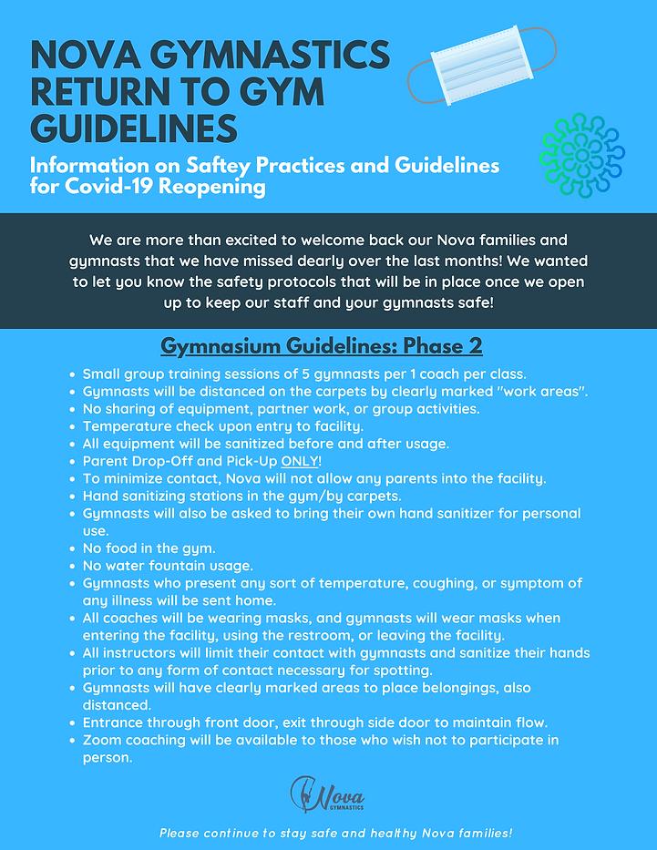Nova Gymnastics Re-Open Guidelines Phase