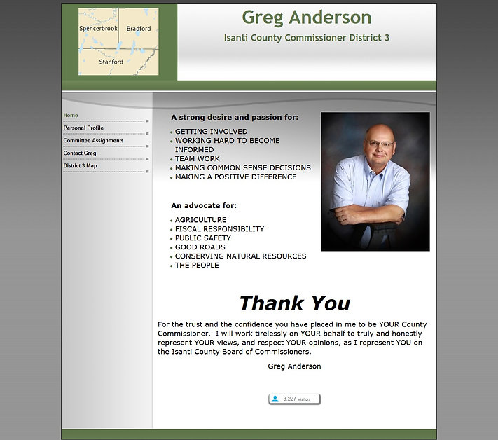 Sample webpage for Greg Anderson Isanti MN County Commissioner District 3